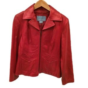Nine West Red 100% Leather Jacket